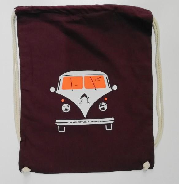 Bus Jute-Rucksack bordeaux