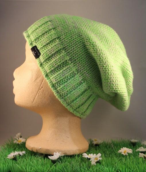 Beanie Venlo medium long grün melange