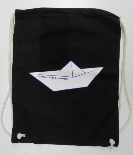 Papierschiff Jute-Rucksack schwarz
