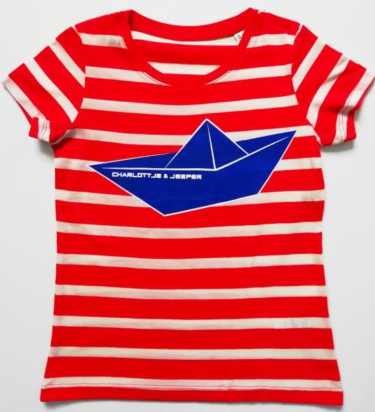 Papierschiff rot weiß Streifen Meisje