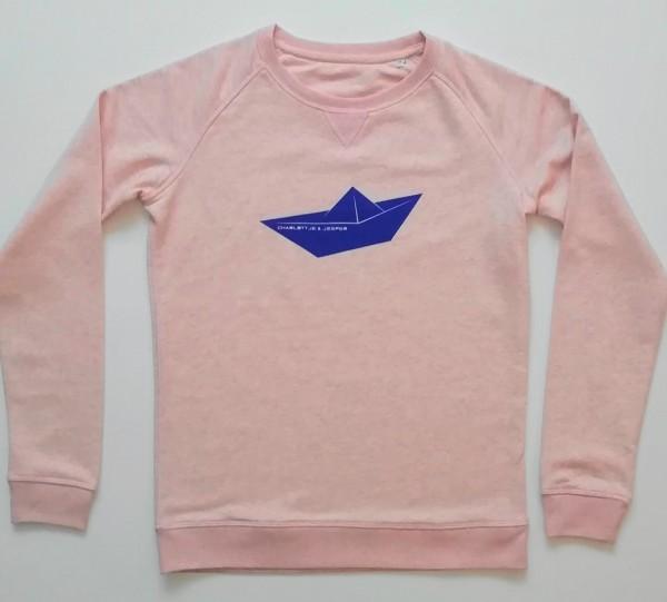 Papierschiff Pulli rosa melange