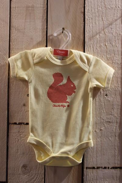 Eichhörnchen Baby Strampler gelb
