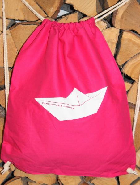 Papierschiff Jute-Rucksack pink