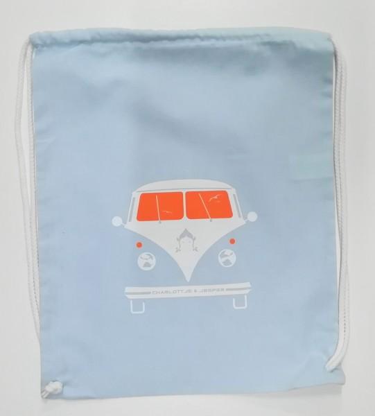 Bus Jute-Rucksack hellblau