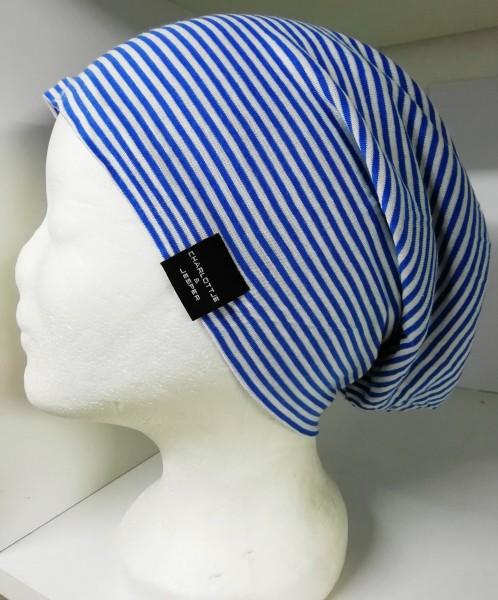 Sommer-Beanie Utrecht weiß blau gestreift