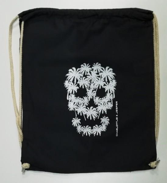Palmen Totenkopf Rucksack schwarz